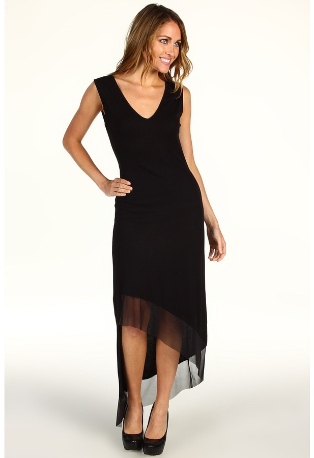 BCBGMAXAZRIA Alisanne Asymmetrical Mesh Trim Dress (Black) - Apparel