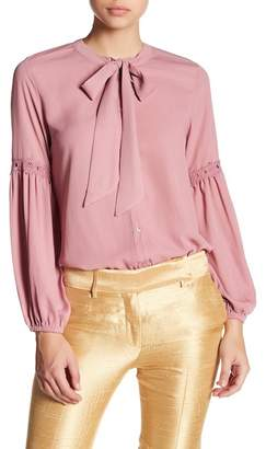 Harve Benard Georgette Long Sleeve Tie Blouse