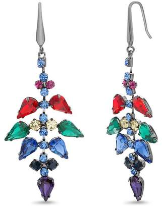 Steve Madden Rhinestone Geometric Cluster Drop Earrings