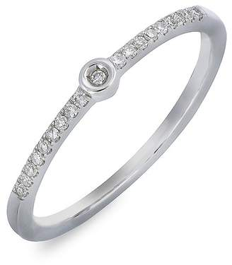 Carriere Sterling Silver Bezel & Pave Diamond Stackable Band Ring - 0.08 ctw