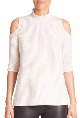 Gondola Knit Wool & Cashmere Blend Jumper Cold Shoulder Top