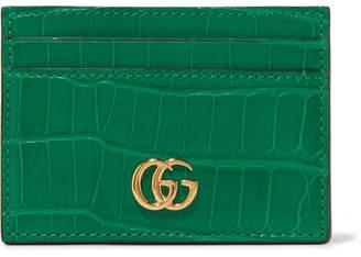 Gucci Marmont Petite Alligator Cardholder - Emerald