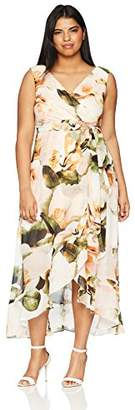 Sangria Women's Plus Size Floral Chiffon Maxi