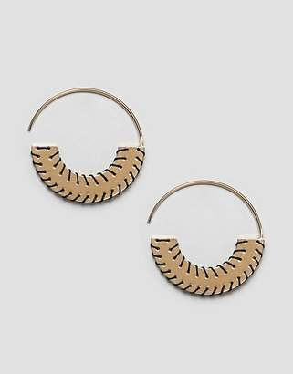 Whistles Stitched Flat Disc Hoop Earrings