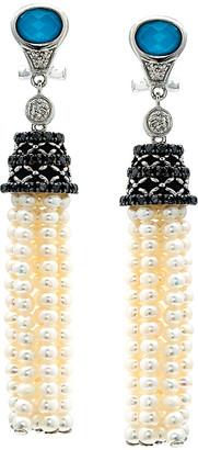 Candela Andrea Barcelona Silver 0.63 Ct. Tw. Diamond, Turquoise & Pearl Tassel Earrings