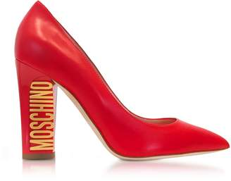 Moschino Gold Tone Logo Heel Red Leather Pumps
