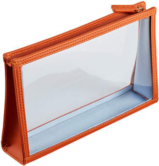 Stow Amber Orange See-View Leather Onboard Essentials Pouch