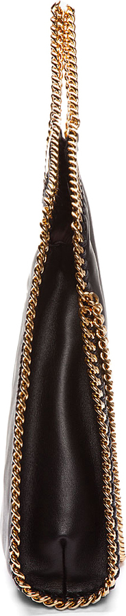 Stella McCartney Black Foldover Falabella Shaggy Deer Small Tote