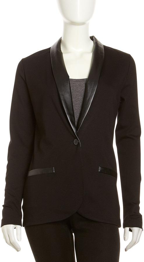 Neiman Marcus Faux-Leather-Trim Shawl-Collar Jacket, Onyx