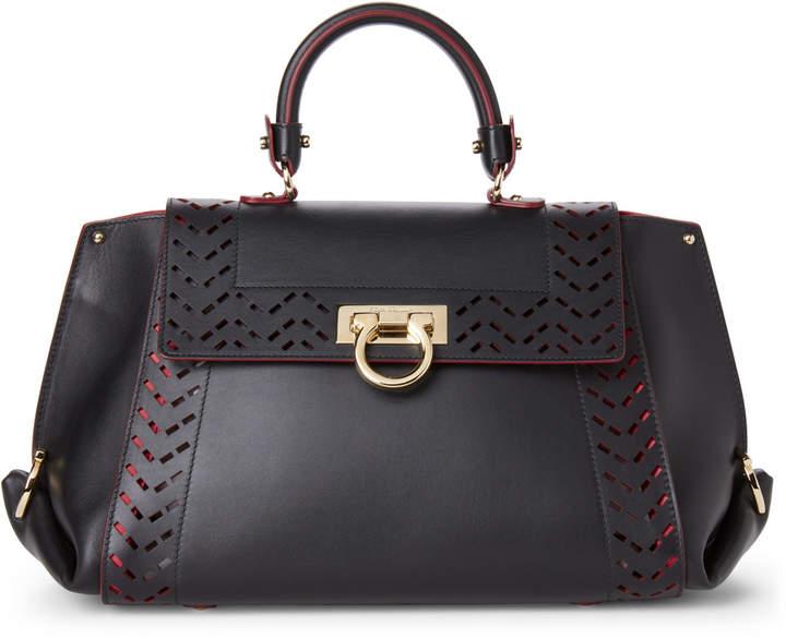Salvatore Ferragamo Black Sofia Laser Cut Leather Top Handle Satchel