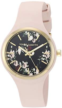Vince Camuto Women's VC/5354BKLP Gold-Tone and Light Pink Silicone Strap Watch