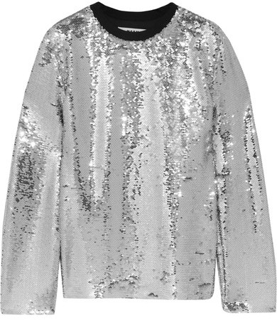 MSGM - Sequined Mesh Top - Silver