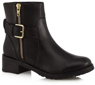 Faith - Black Leather 'Betsy' Mid Block Heel Ankle Boots