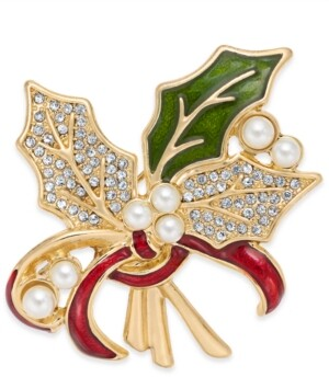 Holiday Lane Gold-Tone Pave & Imitation Pearl Holly Pin, Created For Macy's
