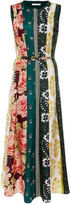 Oscar de la Renta Belted Floral-Print Silk-Jacquard Midi Dress