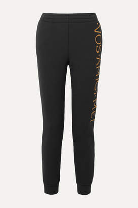 Moschino Embroidered Stretch-terry Track Pants - Black