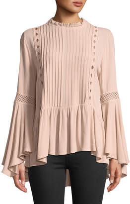 Lumie Pleated-Front Bell-Sleeve Blouse