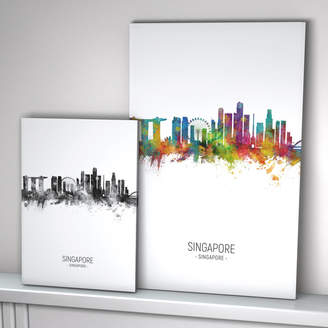 artPause Singapore Skyline Portrait Print And Box Canvas