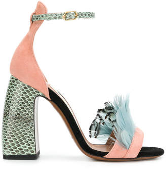 L'Autre Chose feather embellished colour block sandals