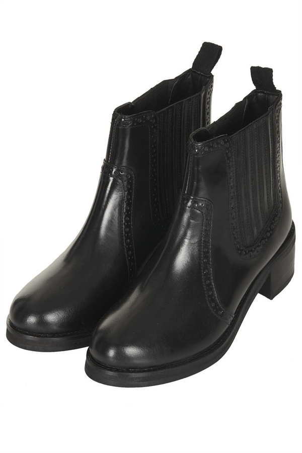 Topshop APPERLEY Brogue Chelsea Boots