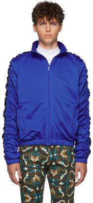 Martine Rose Blue Stripe Ruched Track Jacket