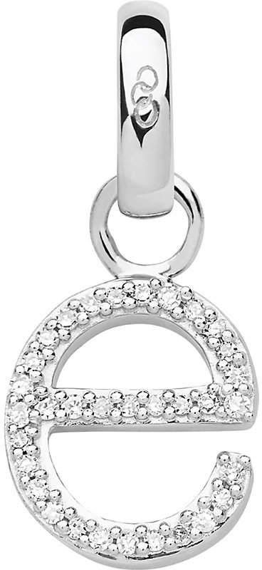 Alphabet E sterling silver and diamond charm