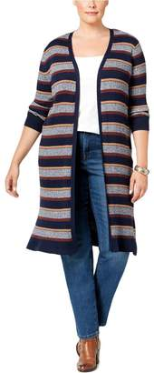 Style&Co. Style & Co. Womens Plus Striped Open Front Cardigan Sweater Navy