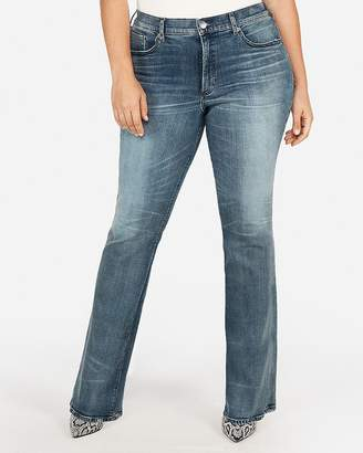 Express High Waisted Medium Wash Perfect Curves Barely Boot Jeans