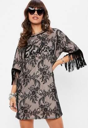 Missguided Barbie x Black Fringe Lace T Shirt Dress Black