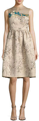 Talbot Runhof Ponnel Sleeveless Twig Silk Jacquard Cocktail Dress with Floral Embroidery