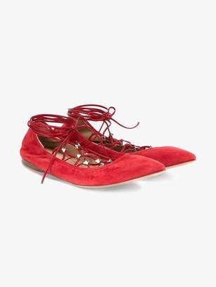Valentino Garavani 'Rockstud' lace-up ballerinas