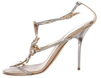 Rene Caovilla Jewel-Embellished T-Strap Sandals