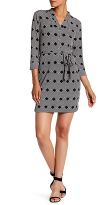 Donna Morgan Printed Split Neck Jersey Shirt Dress $118 thestylecure.com