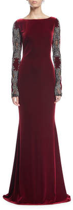 Badgley Mischka Sheer Long-Sleeve Velvet Column Gown