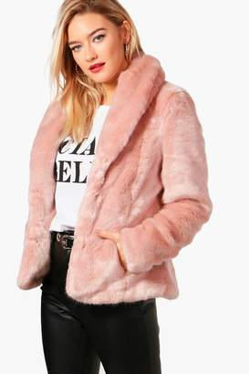 boohoo Sophie Boutique Shawl Collar Faux Fur Coat