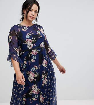 Little Mistress Plus all over contrast printed midi skater tea dress