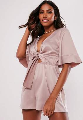 8f7c8293271 Missguided Nude Kimono Sleeve Tie Front Playsuit
