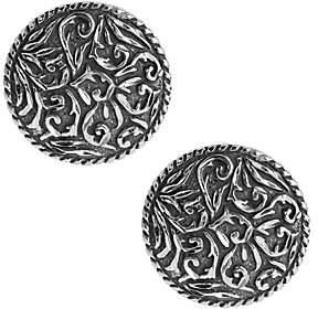 American West Sterling Diamond Cut Scroll Butto n Earrings
