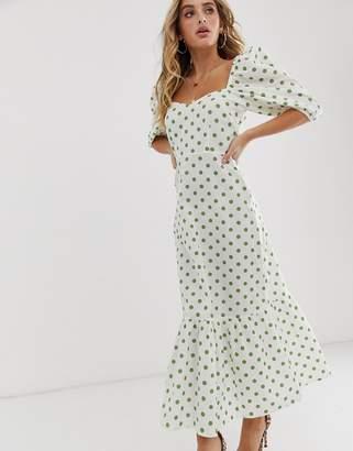 Asos Design DESIGN sweetheart neck tiered midi dress in polka dot