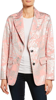 Berek Metallic Animal-Print Two-Button Blazer