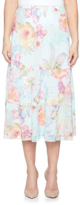 Alfred Dunner Roman Holiday Womens High Waisted Elastic Waist Midi Asymmetrical Skirt