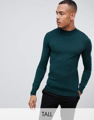 Gianni Feraud Tall premium muscle fit stretch turtleneck fine gauge sweater