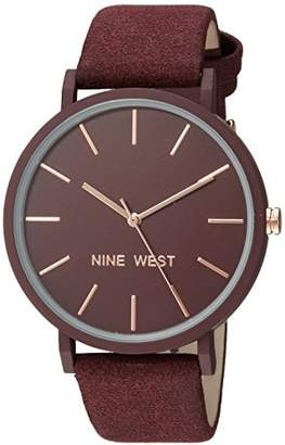 Nine West Women's NW/2066BYRG Faux Suede Strap Watch