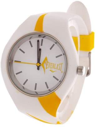 Everlast Slim Yellow Round Sport Analog Watch With White Rubber Strap