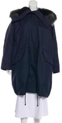 Calvin Klein Fur-Trimmed Zip-Up Coat