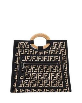 Fendi Runaway Large FF Raffia Shopping Tote Bag