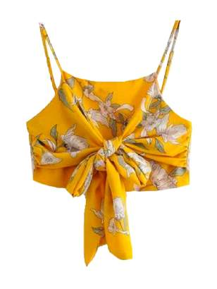 Goodnight Macaroon 'Gianna' Floral Front Tied Wrapped Cropped Top