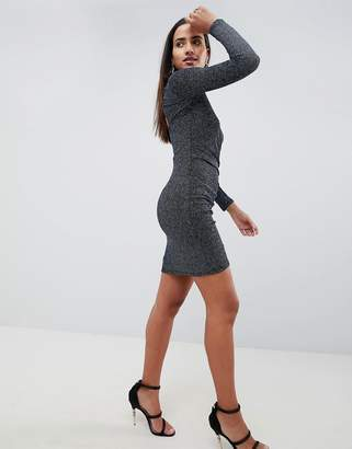 Lipsy Navy Glitter Bodycon Dress