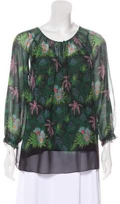 Gerard Darel Printed Long Sleeve Blouse