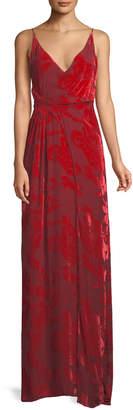 Galvan V-Neck Sleeveless Gathered-Waist Rose Velvet Devore Cami Evening Gown
